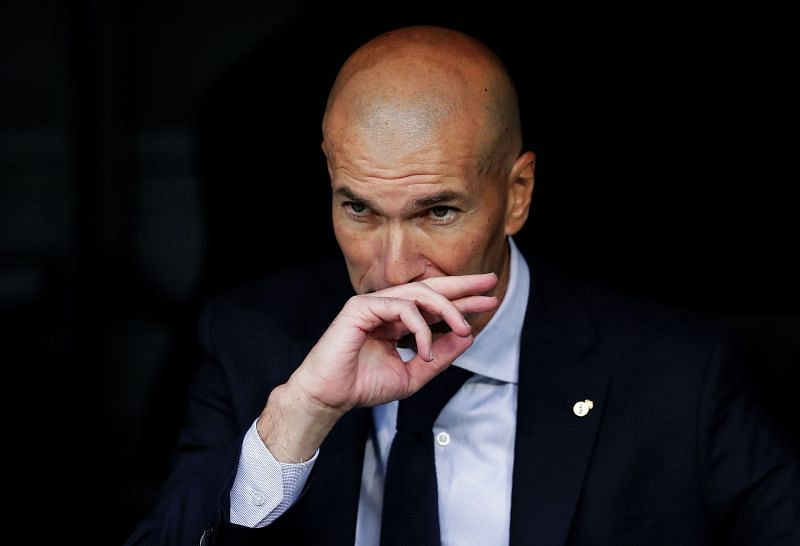 Zinedine Zidane in the Real Madrid dugout
