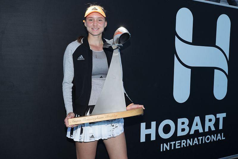 Elena Rybakina with the trophy at the 2020 Hobart International in Hobart.