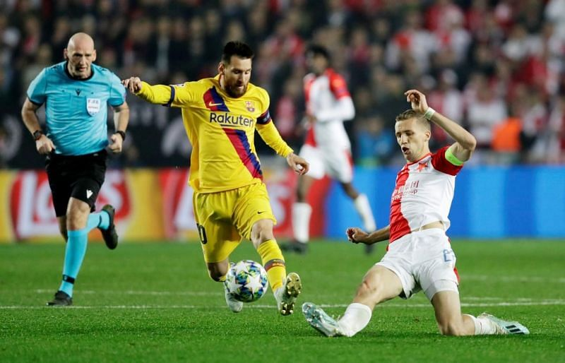 By scoring against Slavia Prague. Lionel Messi became the first player to score in 15 consecutive Champions League seasons.