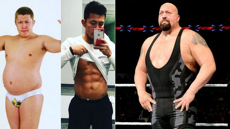 Akira Tozawa before and after his weight loss (left); The Big Show (right)