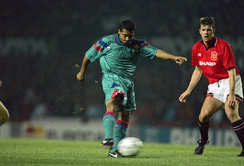 Romario in action Barca against Manchester United in the Champions League