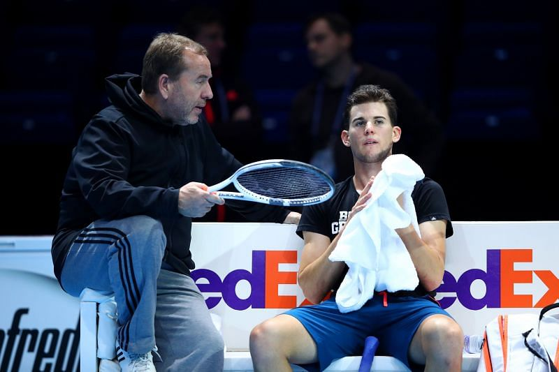 Dominic Thiem of Austria with Gunter Bresnik at the 2016 ATP Finals in London