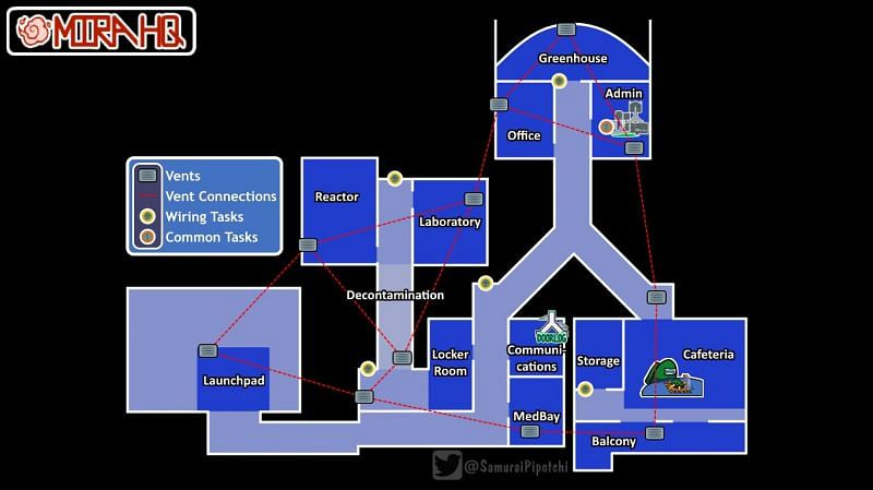 (Image Credit: Among Us Wiki) MIRA HQ map and vent network