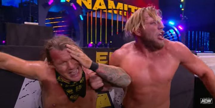 Chris Jericho sure had his brains rattled after that Pele Kick (Pic Source: AEW)