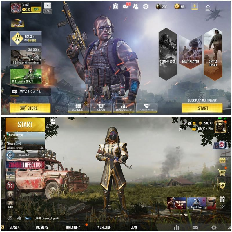 PUBG Mobile (top) and COD Mobile UIs (Image Credits: Reddit )