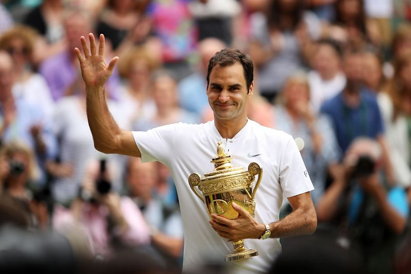 Roger Federer with the Wimbledon trophy in July 2017