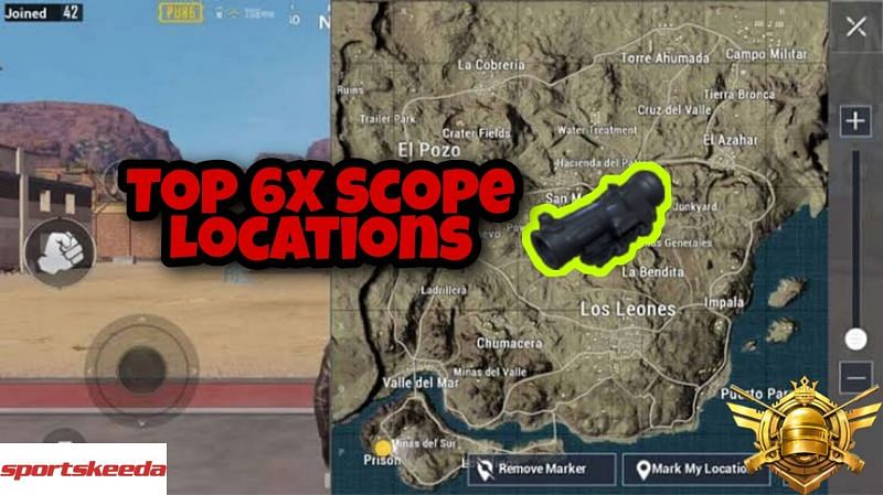 PUBG Mobile: Best sites to find the 6x scope in the Miramar map