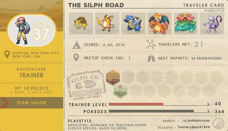 Pokemon Go Trainer Card in Silph Road (Image credit: The Silph Road)