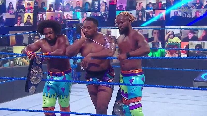 The New Day after being split up by the WWE Draft