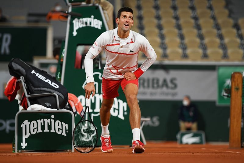 Novak Djokovic at the 2020 French Open