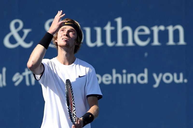 Andrey Rublev after defeating Roger Federer at the Western & Southern Open