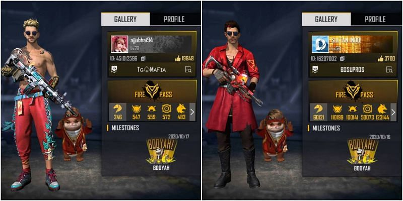 Who has the better stats between Ajjubhai and Sultan Proslo in Free Fire?