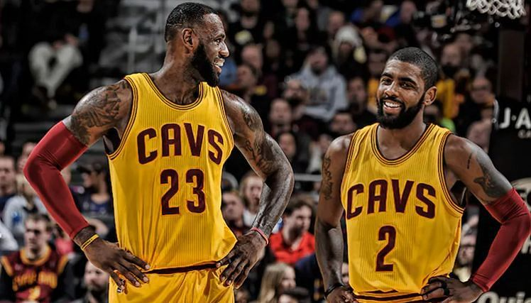 LeBron James (#23) and Kyrie Irving (#2) while playing with the Cleveland Cavaliers