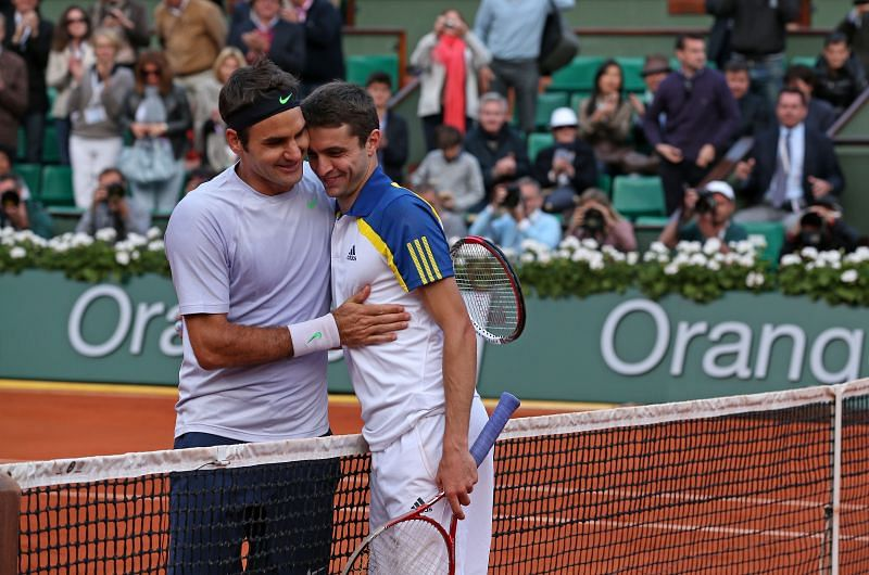 Roger Federer and Gilles Simon