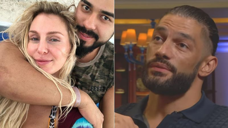 Charlotte Flair and Andrade (left); Roman Reigns (right)