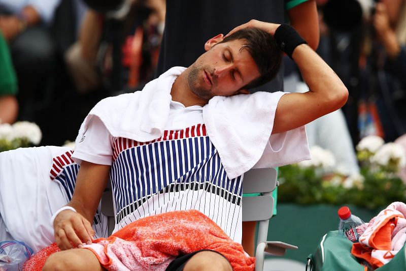 Novak Djokovic receiving a medical timeout