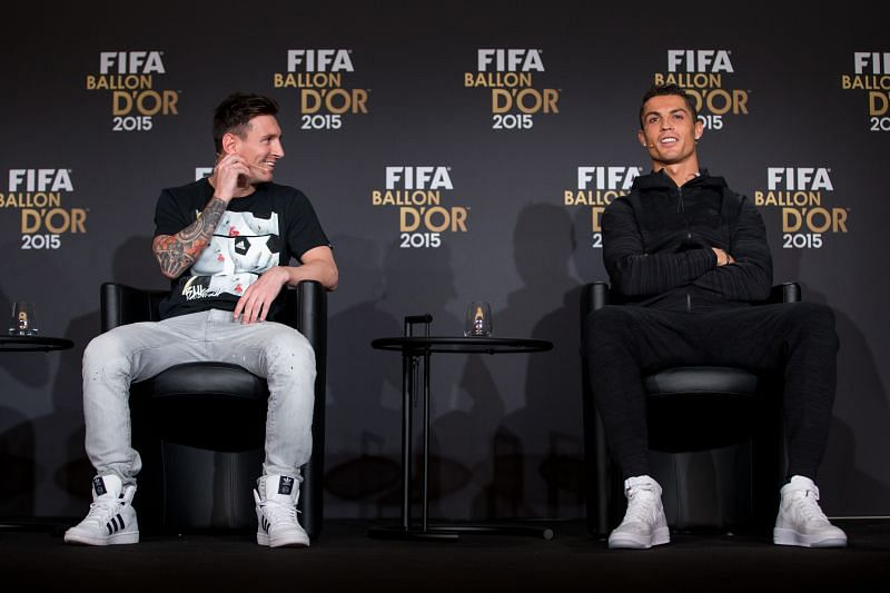 Lionel Messi (L) and Cristiano Ronaldo