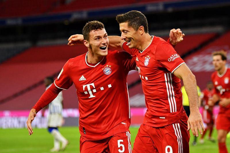 Robert Lewandowski celebrates after scoring a goal