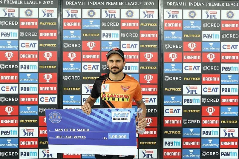 Manish Pandey became the third player to achieve this unique feat with his match-winning performance against the Rajasthan Royals in IPL 2020 (Image Credits: IPLT20.com)