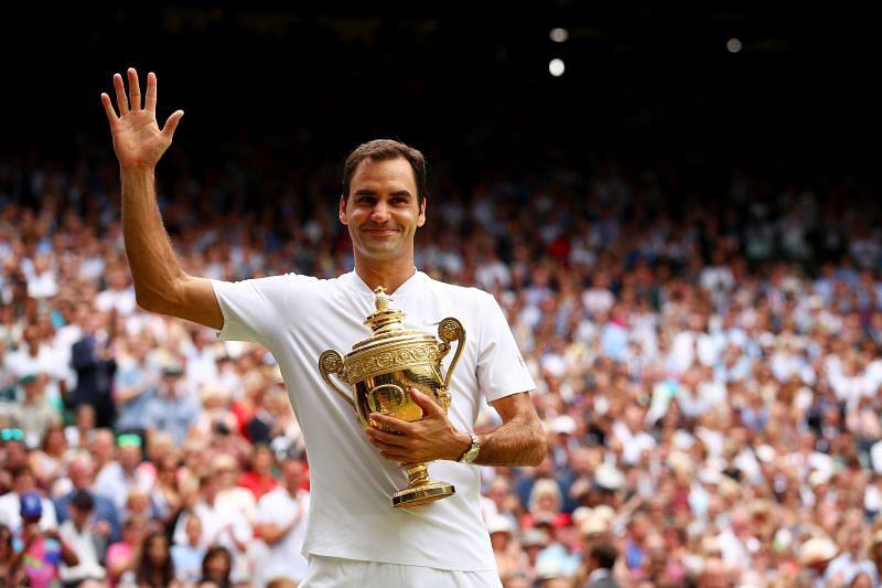 Roger Federer after winning the Wimbledon singles title in July 2017