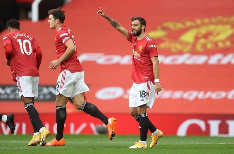 Bruno Fernandes celebrates after scoring their only goal against Tottenham Hotspur