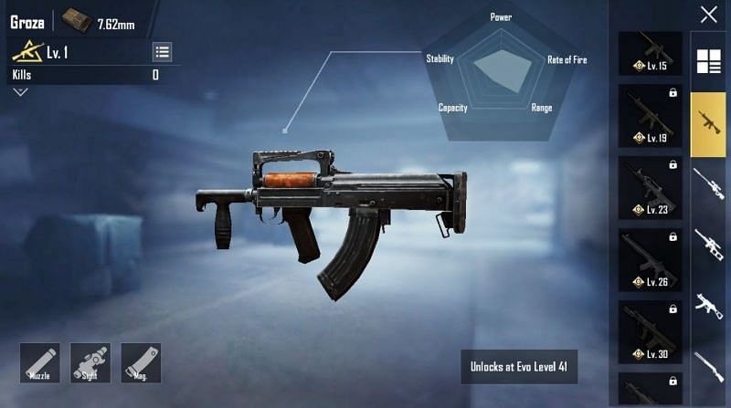 Groza in the Loadout option in PUBG Mobile
