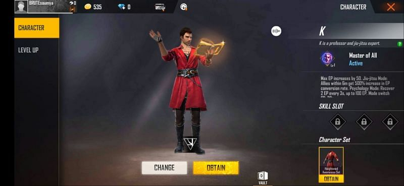 K - Character in Free Fire