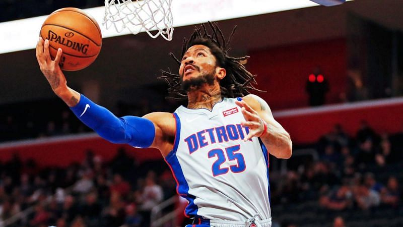 Derrick Rose with the Detroit Pistons
