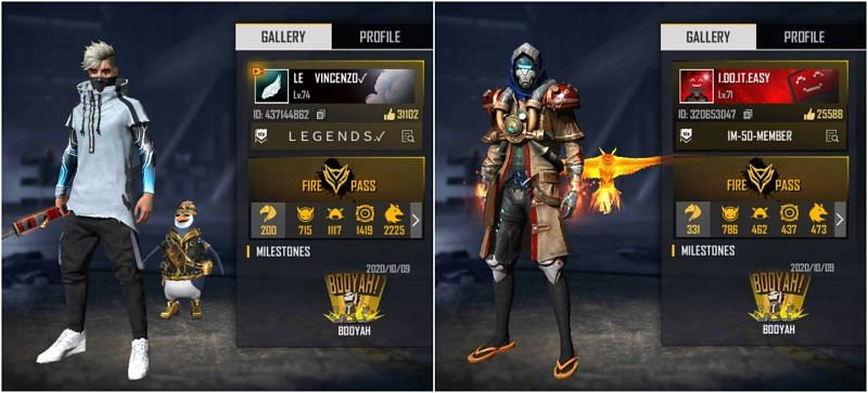Who has better stats in Free Fire among Born2Kill and Vincenzo