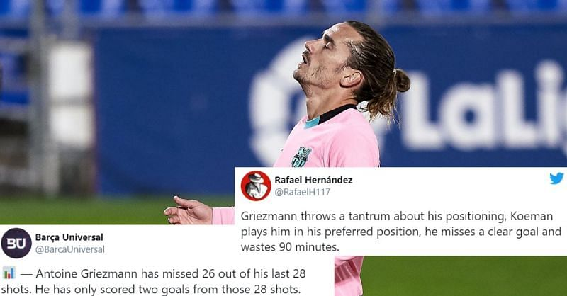 Antoine Griezmann missed a clear-cut chance to put Barcelona ahead