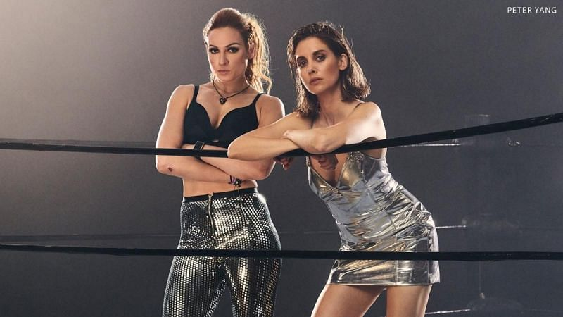 Becky Lynch and Alison Brie on ESPN Magazine - Photo from WWE via Peter Yang