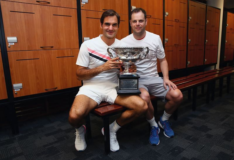 Roger Federer with Severin Luthi after winning the 2018 Australian Open.