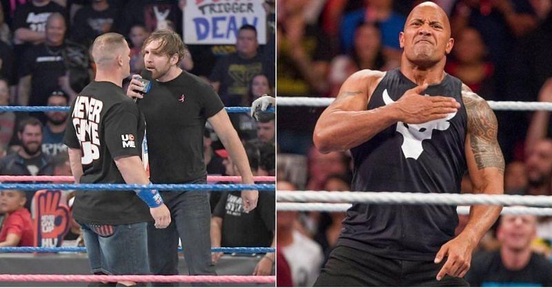 Jon Moxley and John Cena; The Rock