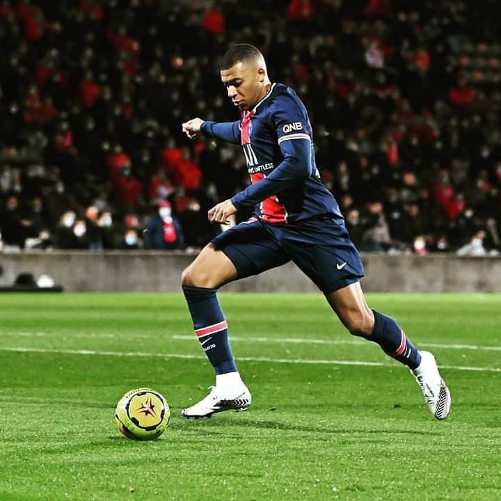 Kylian Mbappe in action