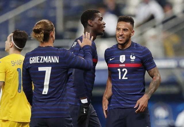 Corentin Tolisso celebrates after scoring a goal for France