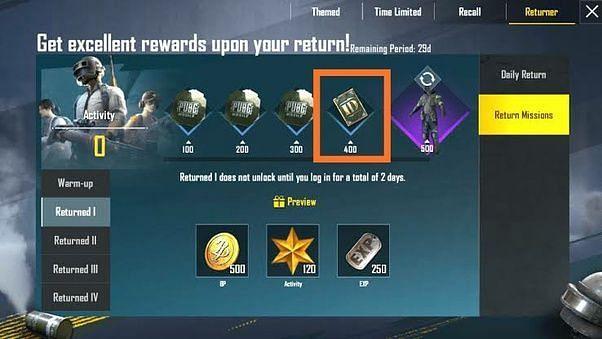 Returner rewards