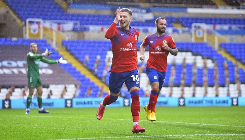 Harvey Elliott celebrating after scoring his first ever professional goal for Blackburn Rovers