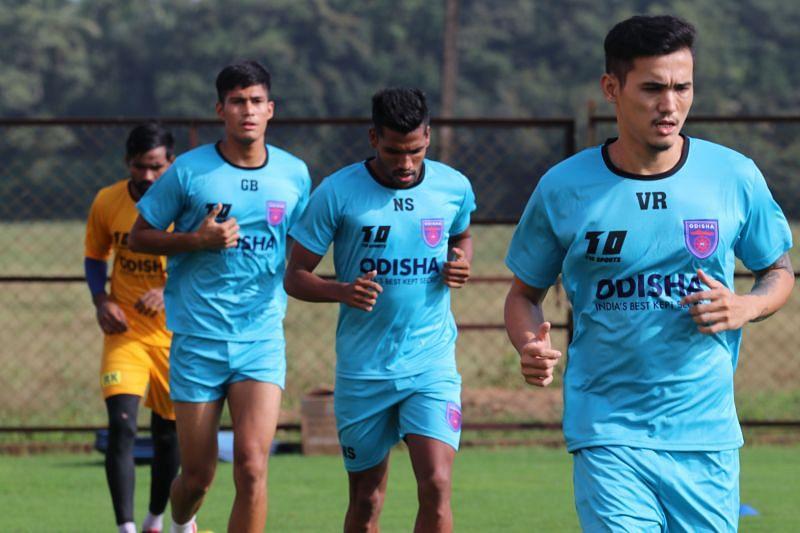 Vinit Rai, Nandhakumar Sekar and Gaurav Bora of Odisha FC.