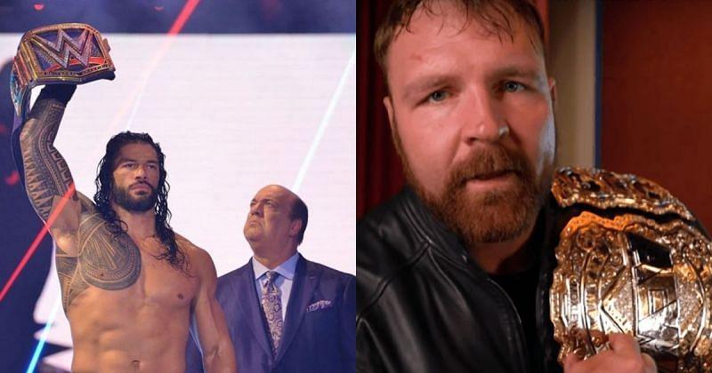 Roman Reigns, Paul Heyman, and Jon Moxley.