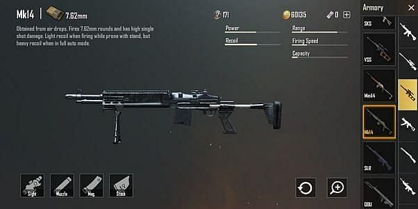 MK14 attachments in PUBG Mobile game