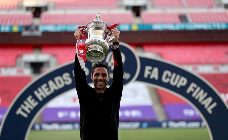Arsenal coach Mikel Arteta celebrates after winning the FA Cup