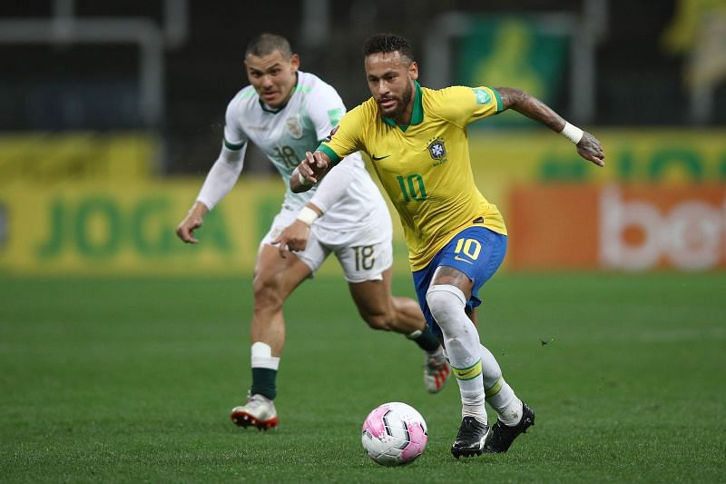 Neymar in action for Brazil against Bolivia