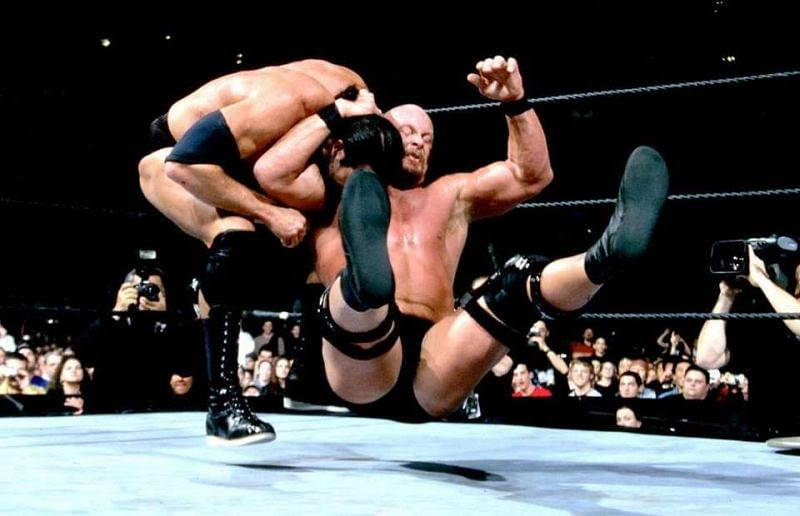 The Rock in the Stone Cold Stunner