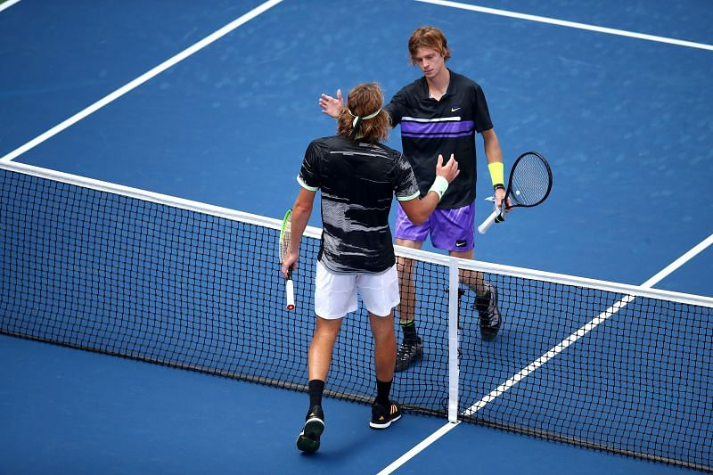 Andrey Rublev beat Stefanos Tsitsipas in the first round of the 2019 US Open