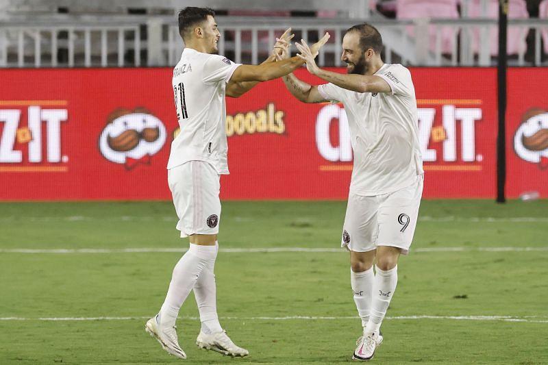 Julian Carranza and Gonzalo Higuain of Inter Miami