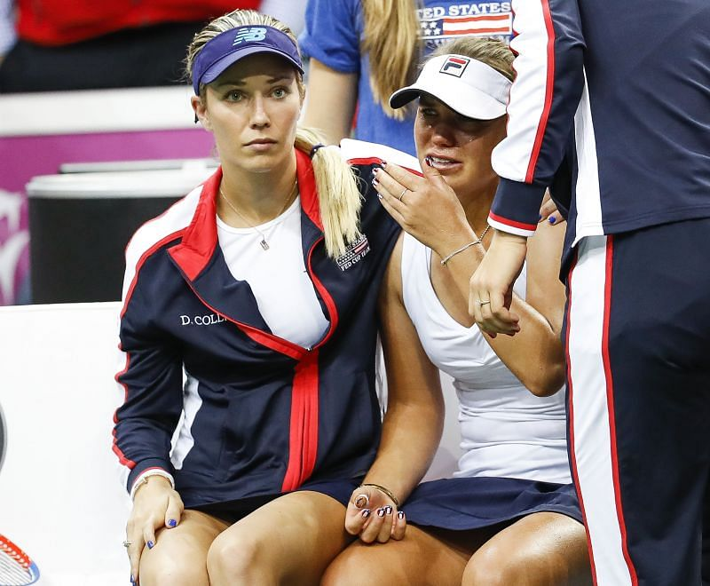 Danielle Collins (L) and Sofia Kenin in the 2018 Fed Cup Final