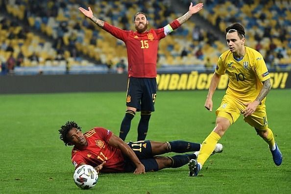 Spain had several chances in the first half