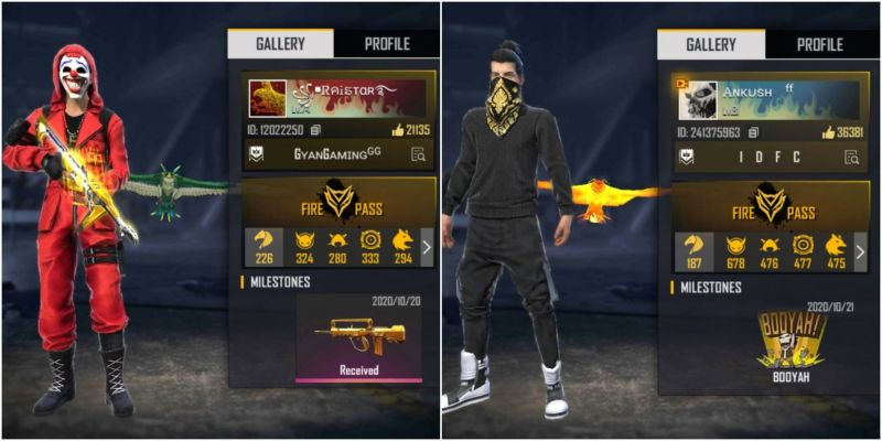 Who has better stats between Raistar and ANKUSH FREEFIRE in Free Fire?