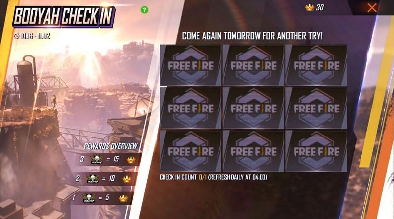 Bingo Check In feature in Free Fire
