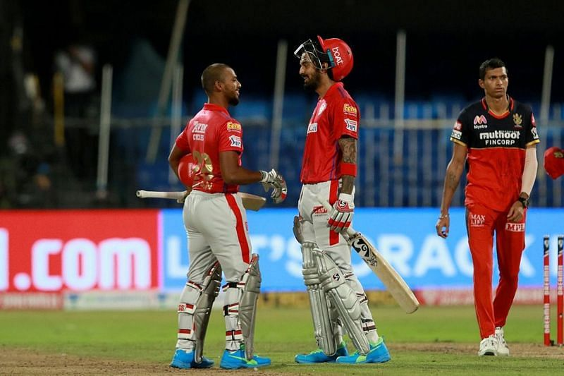 KL Rahul and the last-ball six by Nicholas Pooran helped KXIP beat RCB by 8 wickets (Credits: IPLT20.com)